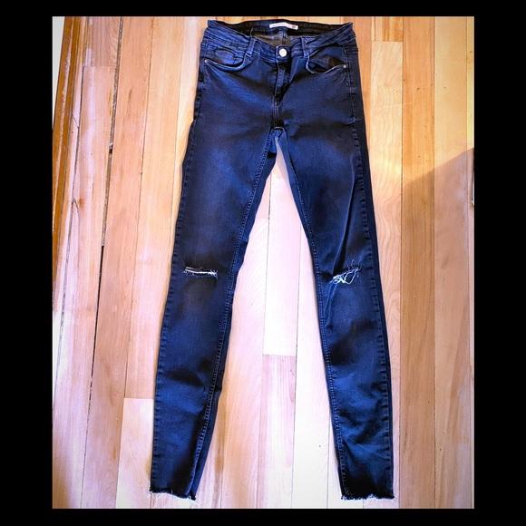Zara Washed Grey Jeans with Rip